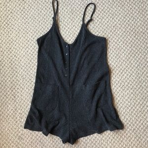 Knit spaghetti strap romper with plunging back